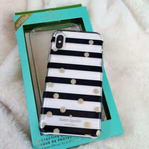 Kate Spade iPhone X/XS Case Gold Glitter Polka Dot